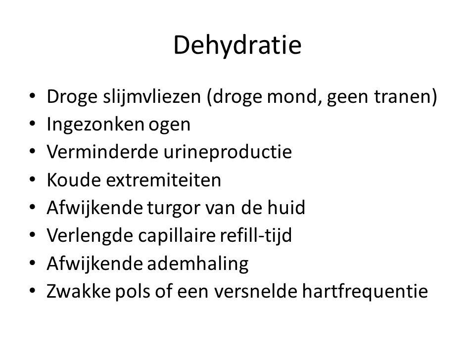 Dehydratie Droge slijmvliezen (droge mond, geen tranen)