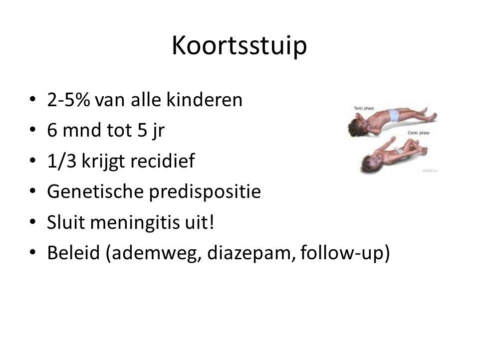 Koortsstuip 2-5% van alle kinderen 6 mnd tot 5 jr 1/3 krijgt recidief