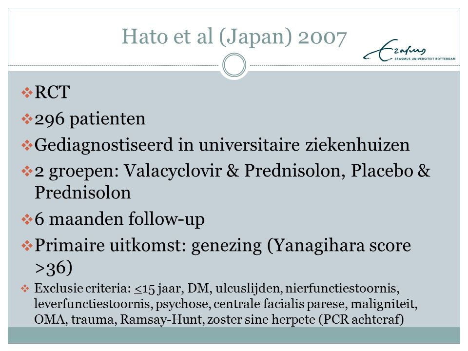 Hato et al (Japan) 2007 RCT 296 patienten