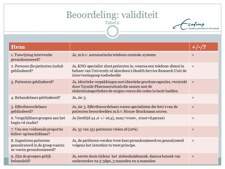 Beoordeling: validiteit Tabel 2