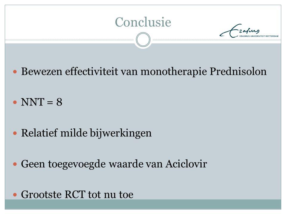 Conclusie Bewezen effectiviteit van monotherapie Prednisolon NNT = 8