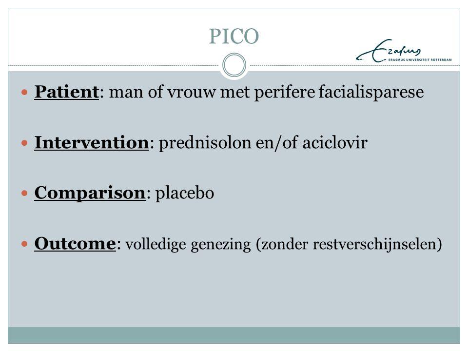PICO Patient: man of vrouw met perifere facialisparese