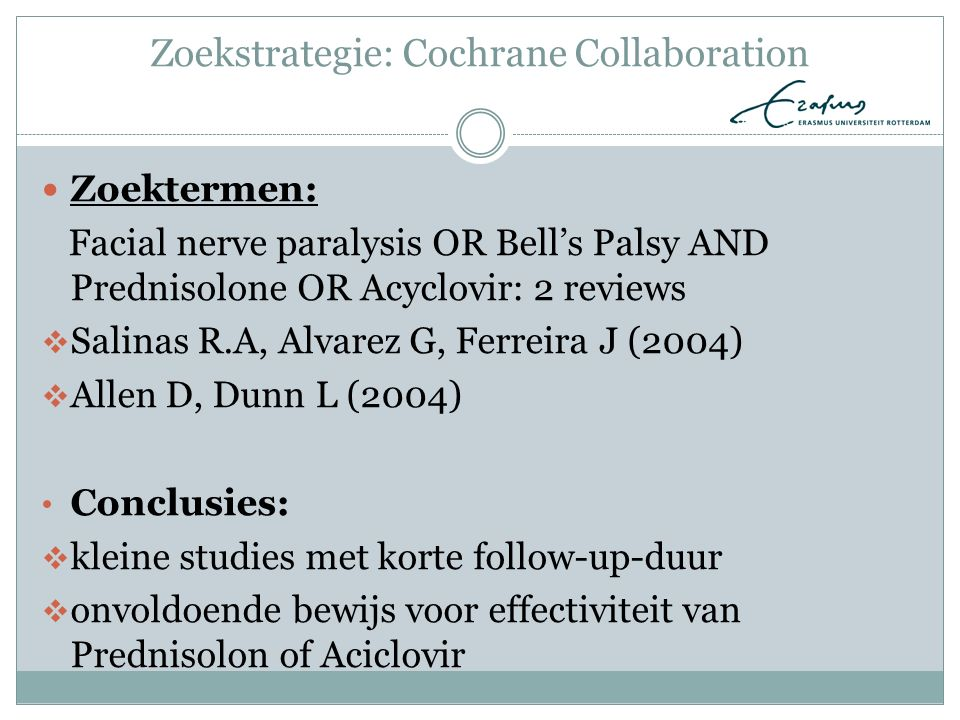 Zoekstrategie: Cochrane Collaboration