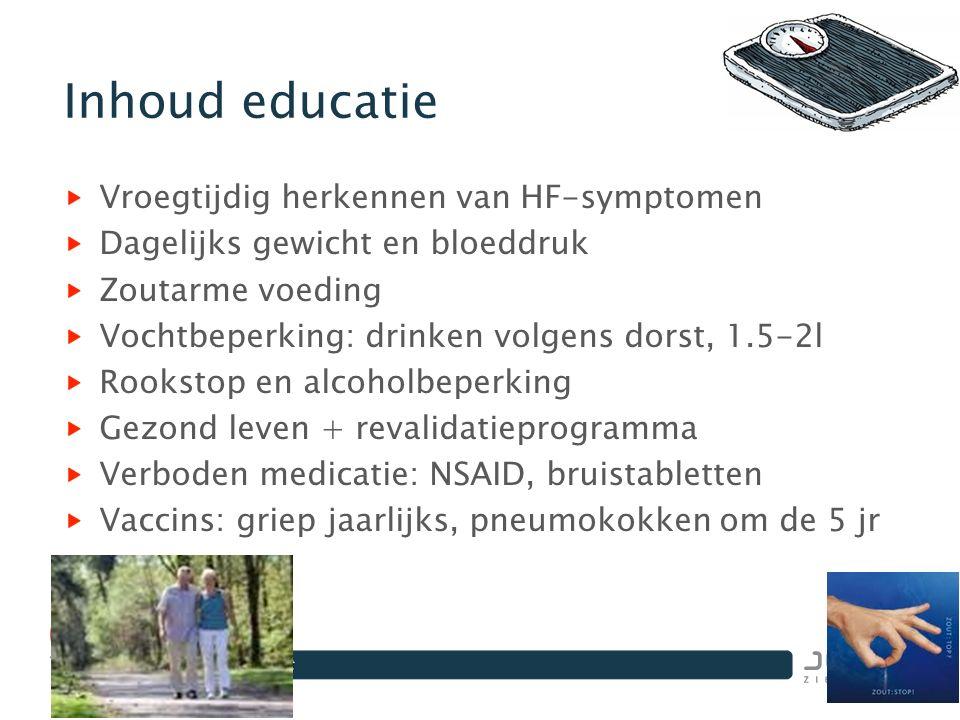 Inhoud educatie Vroegtijdig herkennen van HF-symptomen