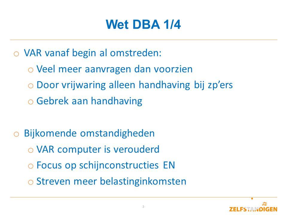 Wet DBA 1/4 VAR vanaf begin al omstreden: