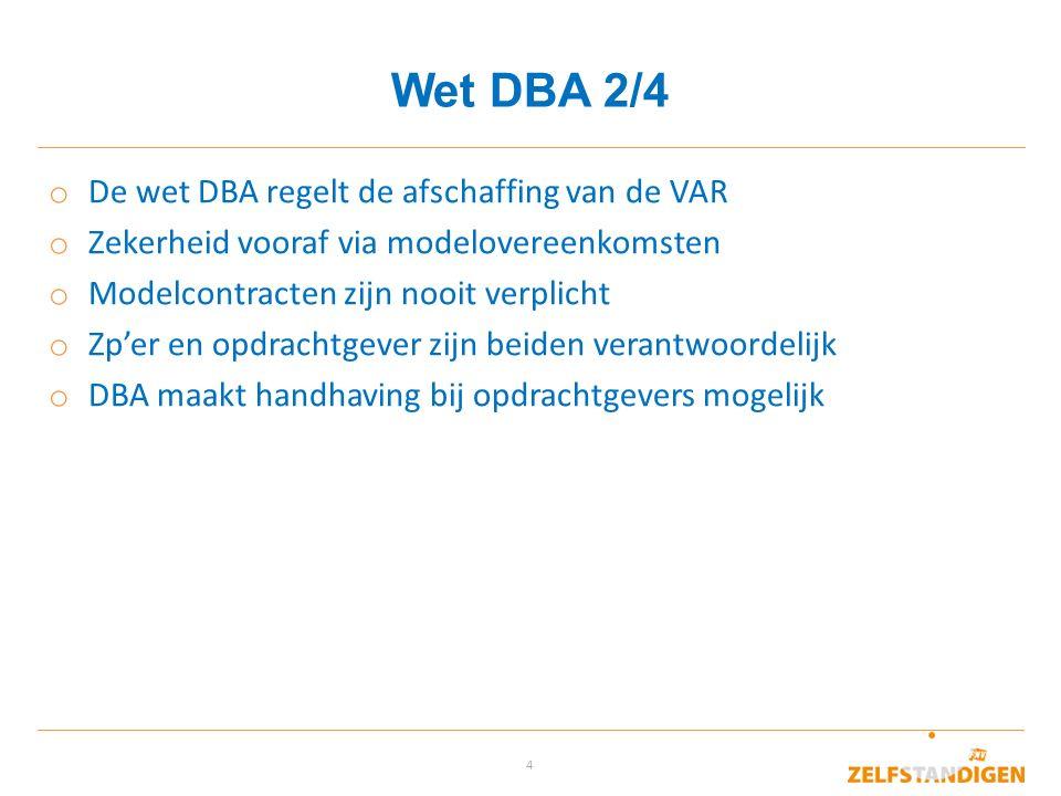 Wet DBA 2/4 De wet DBA regelt de afschaffing van de VAR