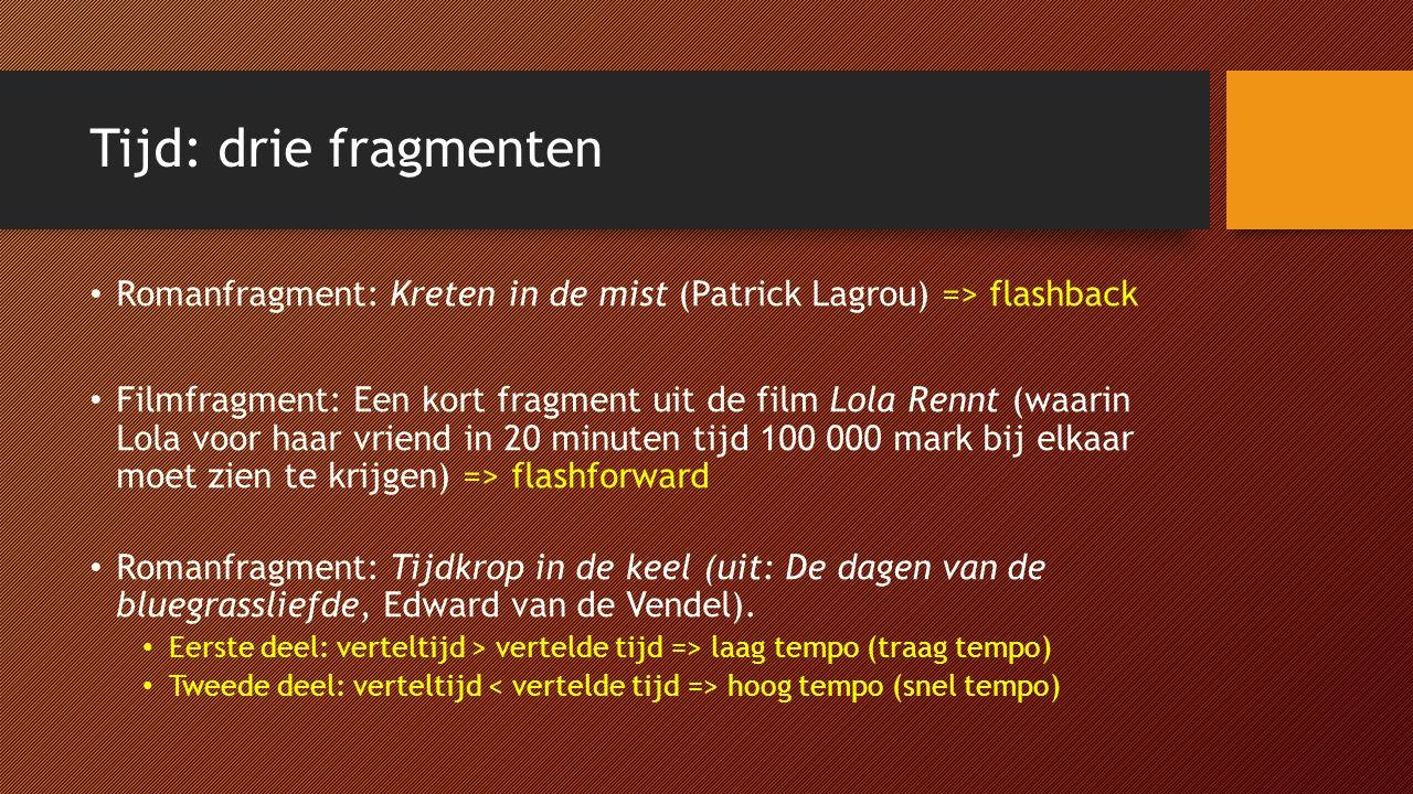 Tijd: drie fragmenten Romanfragment: Kreten in de mist (Patrick Lagrou) => flashback.