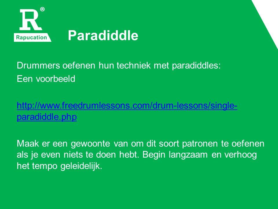 Paradiddle Drummers oefenen hun techniek met paradiddles:
