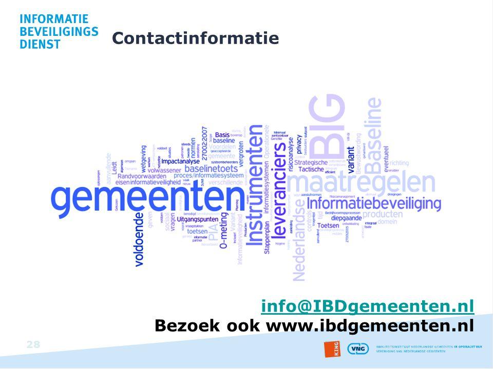 Contactinformatie info@IBDgemeenten.nl Bezoek ook www.ibdgemeenten.nl