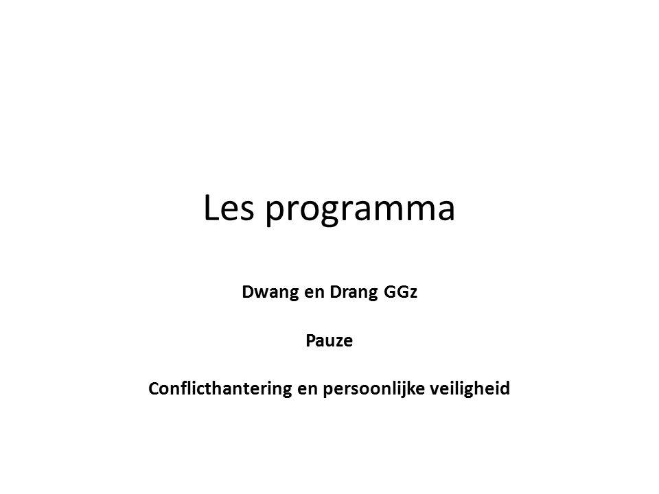 Dwang en Drang GGz Pauze Conflicthantering en persoonlijke veiligheid