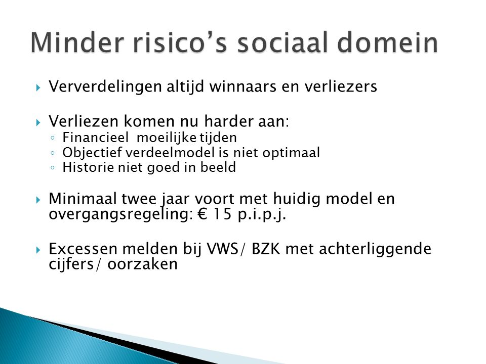 Minder risico's sociaal domein