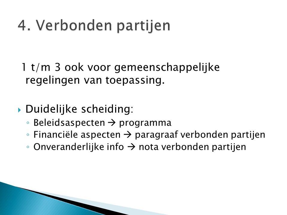 4. Verbonden partijen 1 t/m 3 ook voor gemeenschappelijke regelingen van toepassing. Duidelijke scheiding: