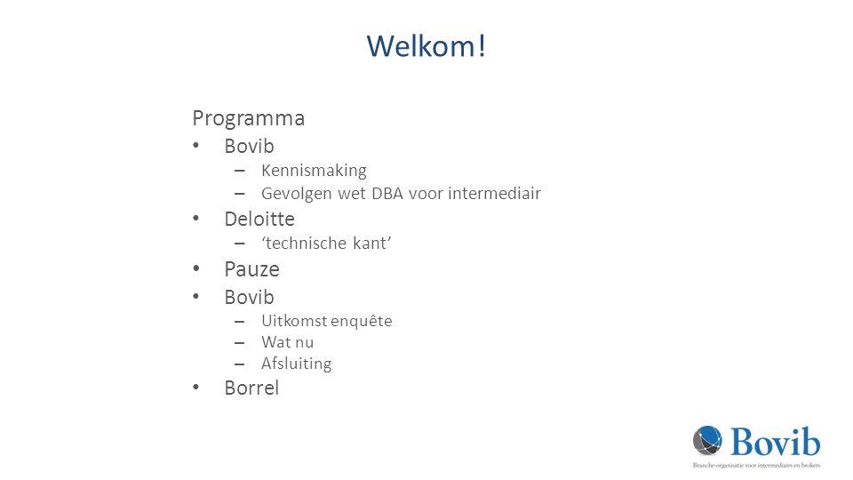 Welkom! Programma Pauze Bovib Deloitte Borrel Kennismaking