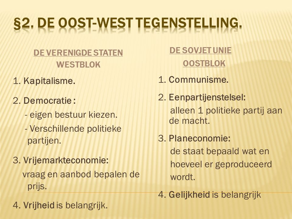 §2. De oost-west tegenstelling.