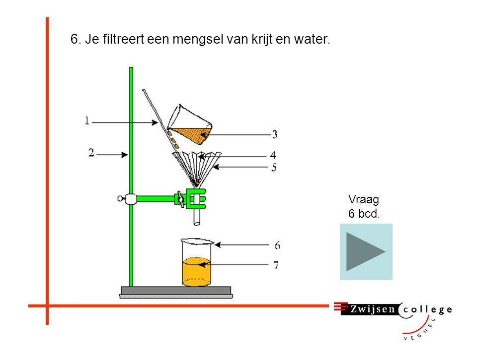 6. Je filtreert een mengsel van krijt en water.