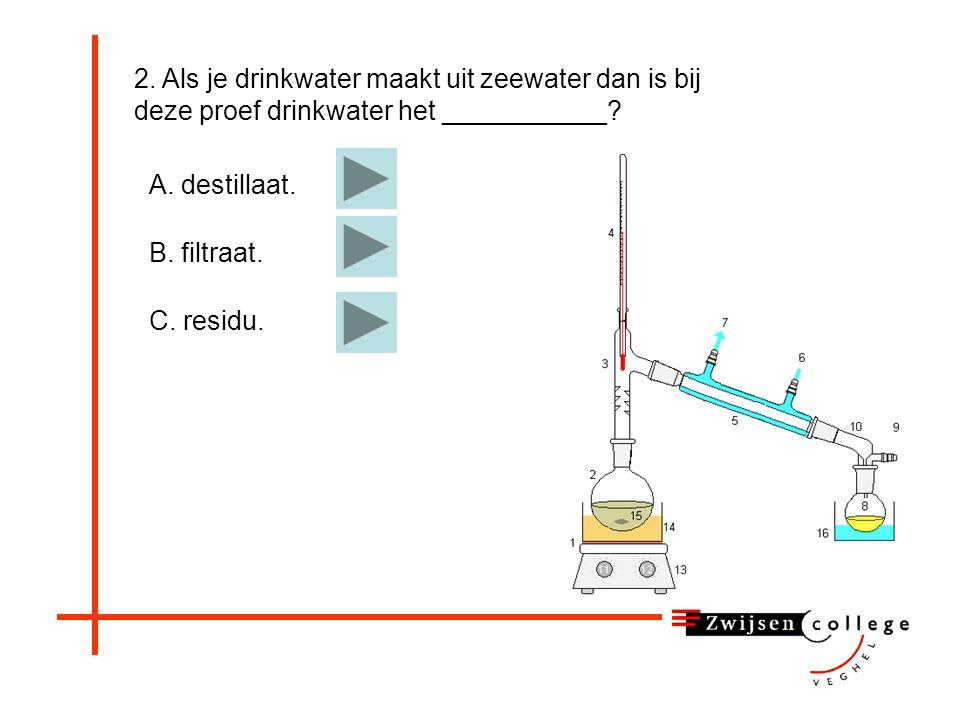 2. Als je drinkwater maakt uit zeewater dan is bij deze proef drinkwater het ___________