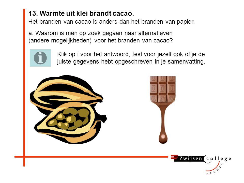 13. Warmte uit klei brandt cacao.