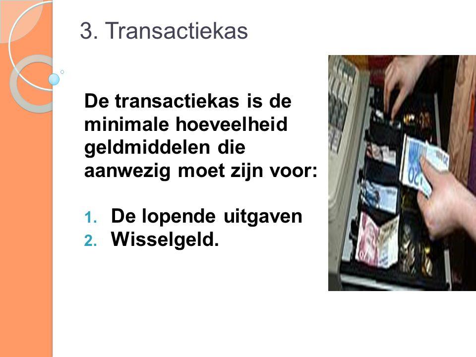 3. Transactiekas De transactiekas is de minimale hoeveelheid