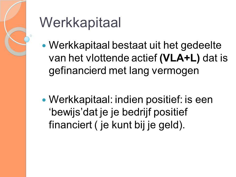 Werkkapitaal Werkkapitaal bestaat uit het gedeelte van het vlottende actief (VLA+L) dat is gefinancierd met lang vermogen.