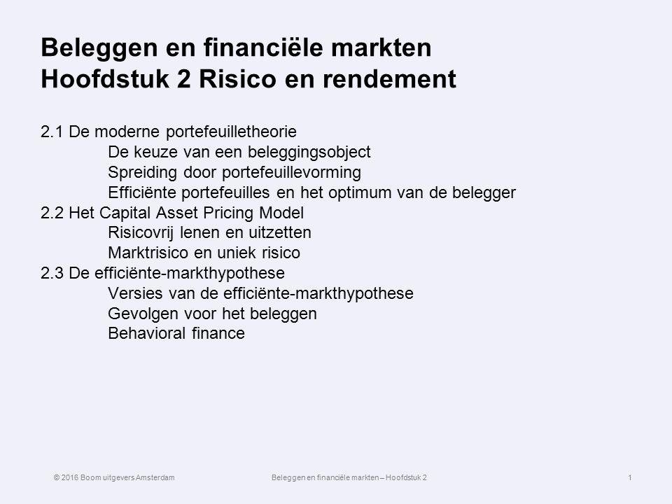 Beleggen en financiële markten Hoofdstuk 2 Risico en rendement