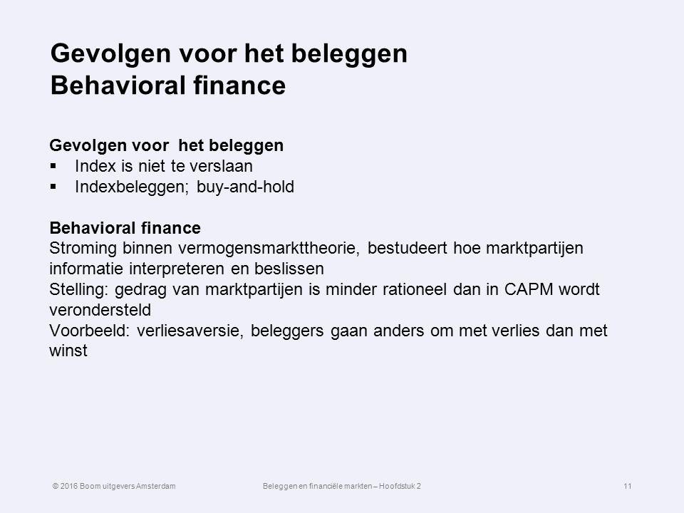 Gevolgen voor het beleggen Behavioral finance