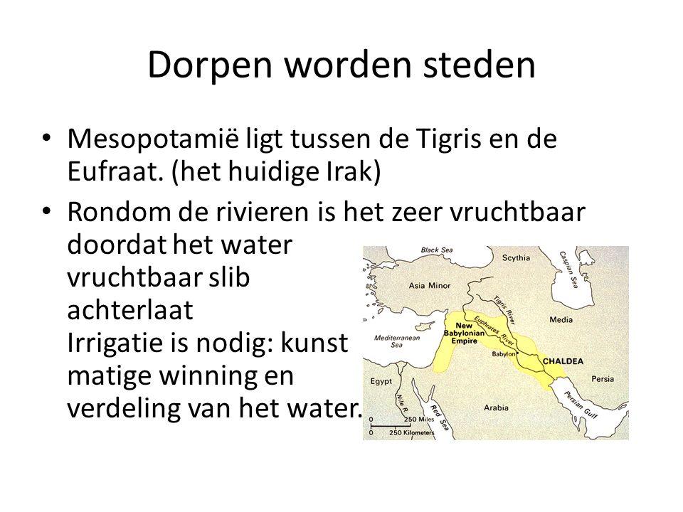 Dorpen worden steden Mesopotamië ligt tussen de Tigris en de Eufraat. (het huidige Irak)