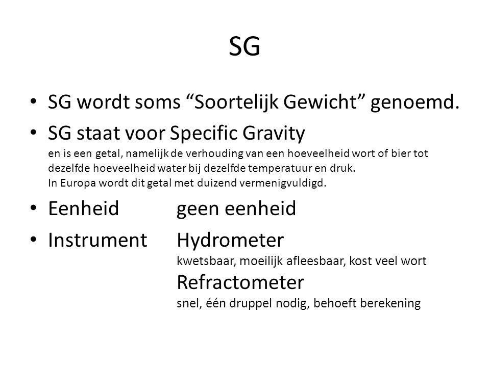 SG SG wordt soms Soortelijk Gewicht genoemd.