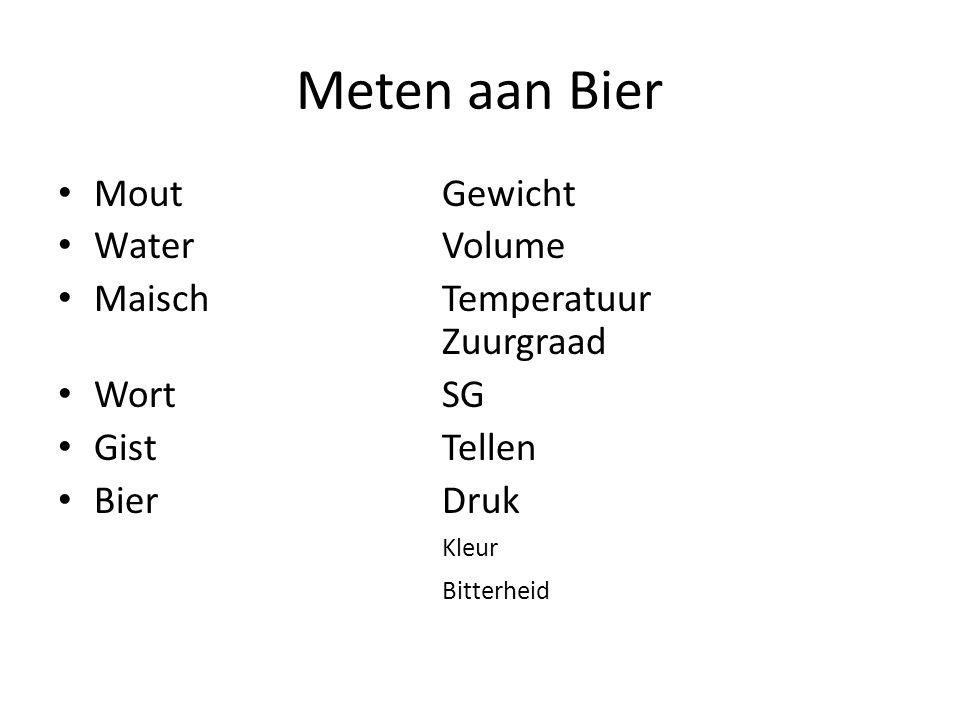 Meten aan Bier Mout Gewicht Water Volume Maisch Temperatuur Zuurgraad