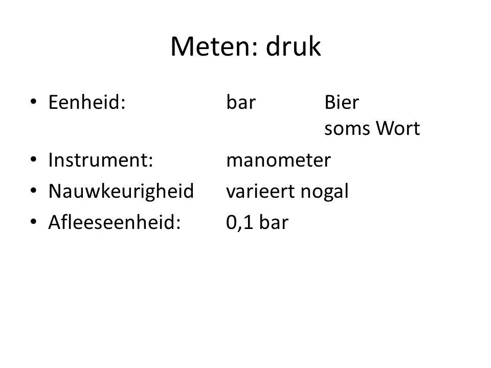 Meten: druk Eenheid: bar Bier soms Wort Instrument: manometer