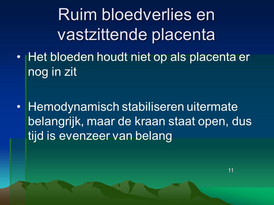 Ruim bloedverlies en vastzittende placenta