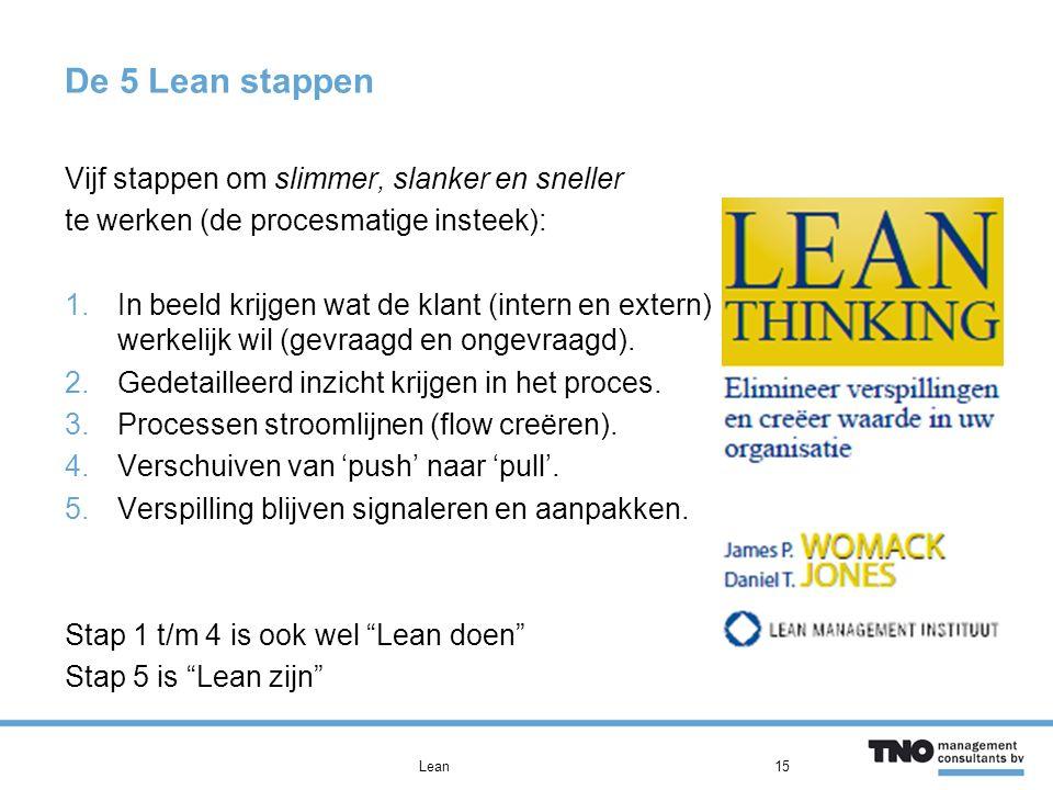 De 5 Lean stappen Vijf stappen om slimmer, slanker en sneller