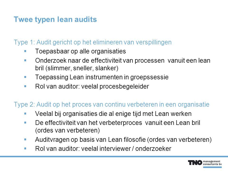 Twee typen lean audits Type 1: Audit gericht op het elimineren van verspillingen. Toepasbaar op alle organisaties.