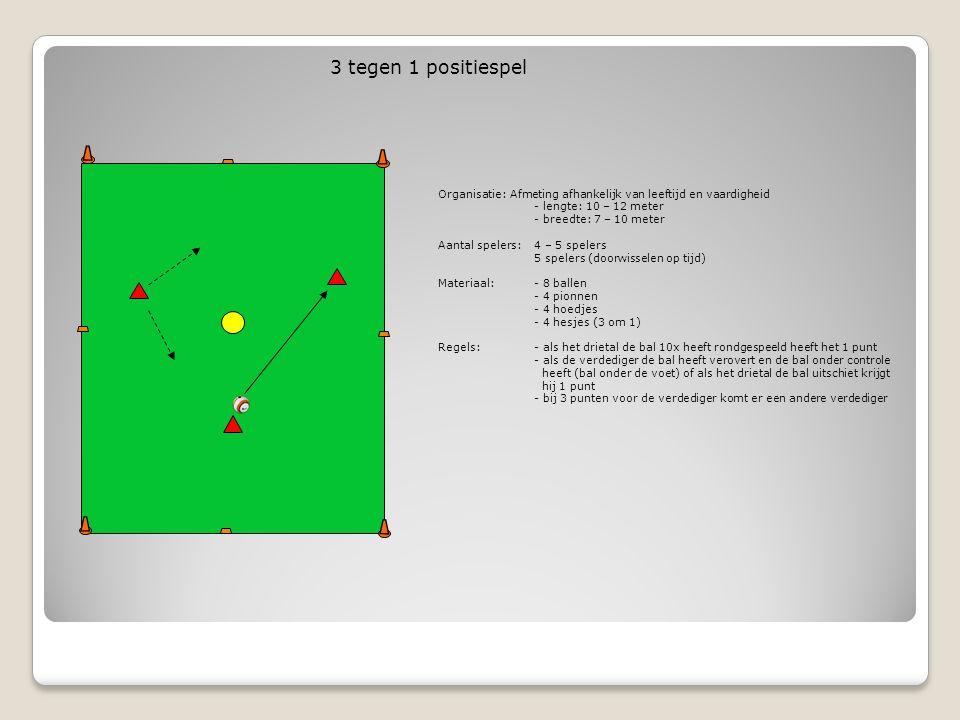 3 tegen 1 positiespel Organisatie: Afmeting afhankelijk van leeftijd en vaardigheid. - lengte: 10 – 12 meter.
