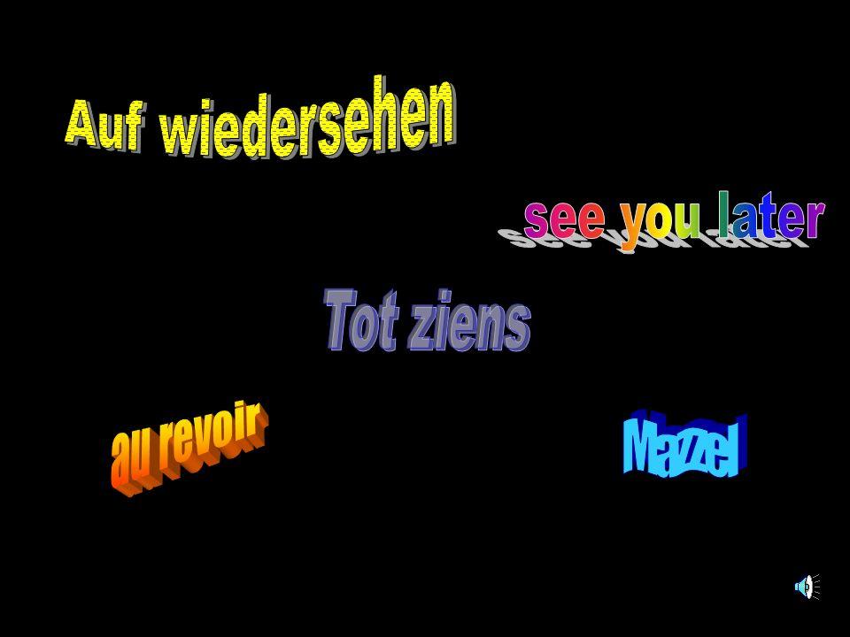 Auf wiedersehen see you later Tot ziens au revoir Mazzel