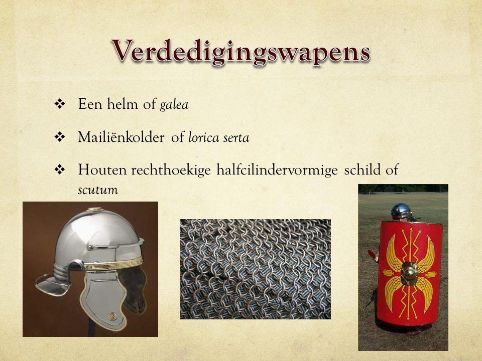 Verdedigingswapens Een helm of galea Mailiënkolder of lorica serta