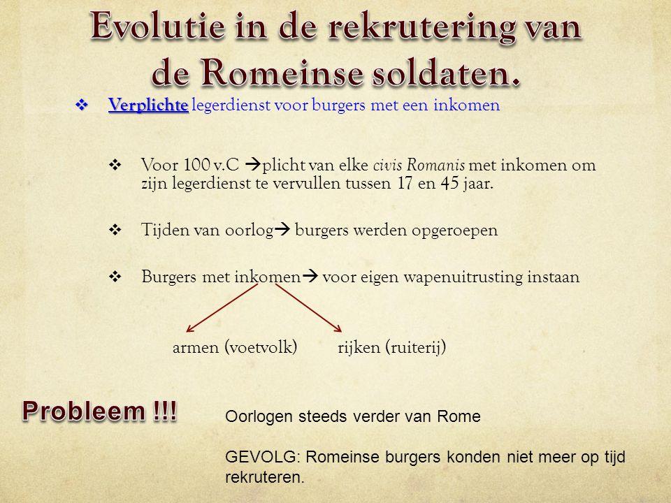 Evolutie in de rekrutering van de Romeinse soldaten.