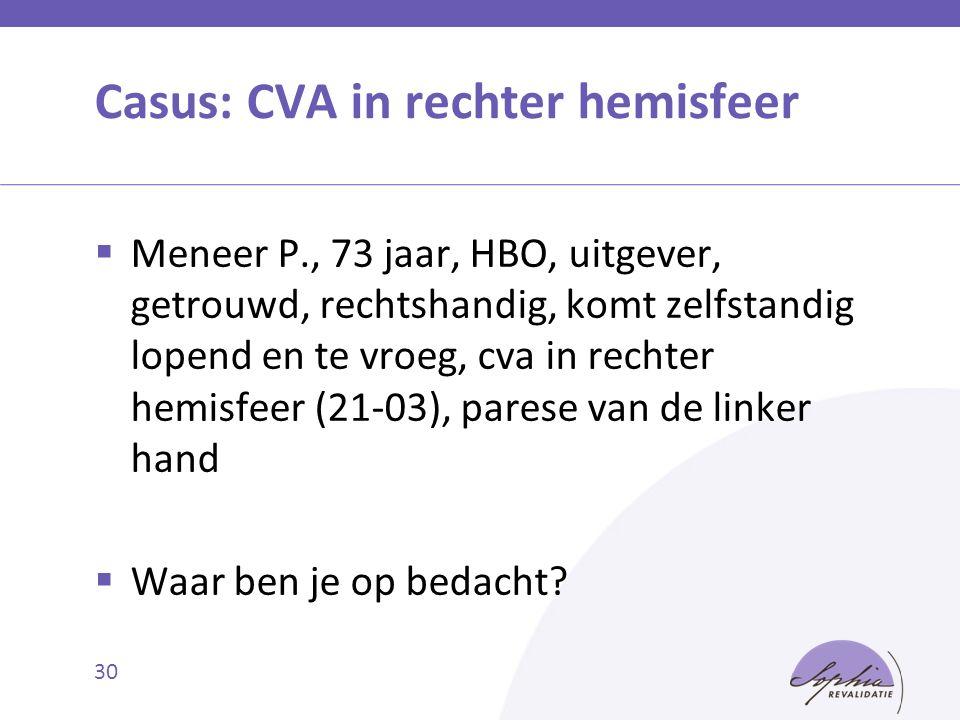 Casus: CVA in rechter hemisfeer