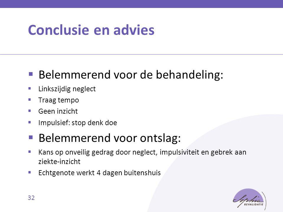 Conclusie en advies Belemmerend voor de behandeling: