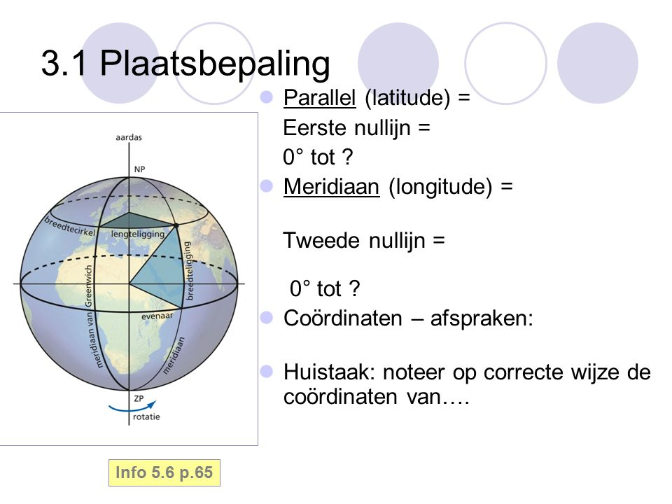 3.1 Plaatsbepaling Parallel (latitude) = Eerste nullijn = 0° tot