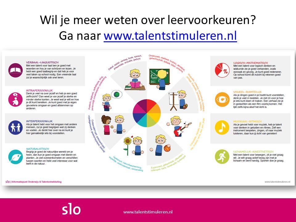 Wil je meer weten over leervoorkeuren Ga naar www.talentstimuleren.nl