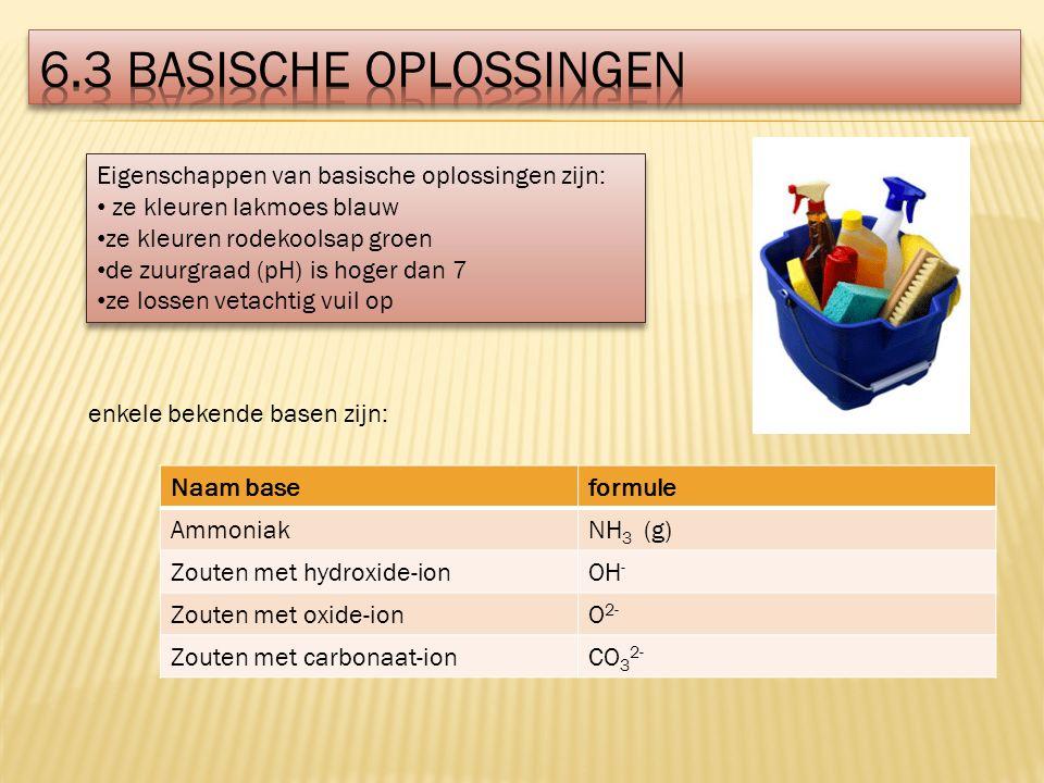 6.3 Basische oplossingen Eigenschappen van basische oplossingen zijn: