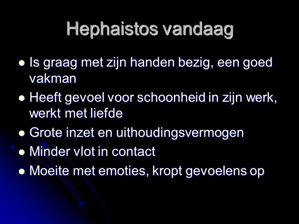 Hephaistos vandaag Is graag met zijn handen bezig, een goed vakman