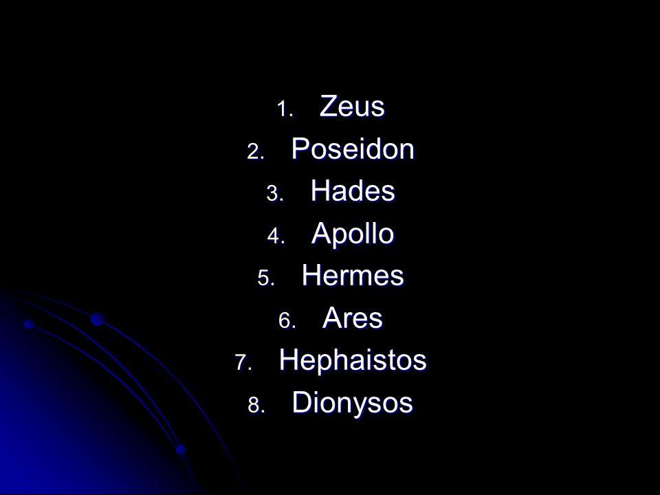 Zeus Poseidon Hades Apollo Hermes Ares Hephaistos Dionysos