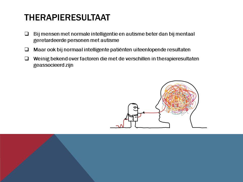 Therapieresultaat Bij mensen met normale intelligentie en autisme beter dan bij mentaal geretardeerde personen met autisme.