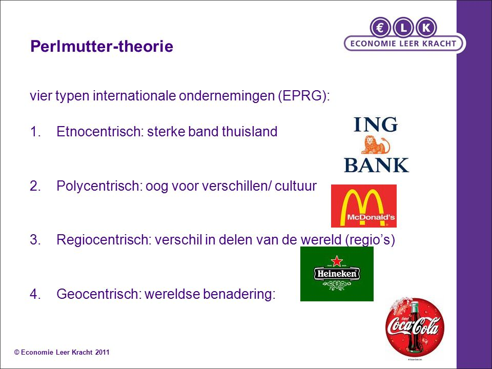 Perlmutter-theorie vier typen internationale ondernemingen (EPRG):