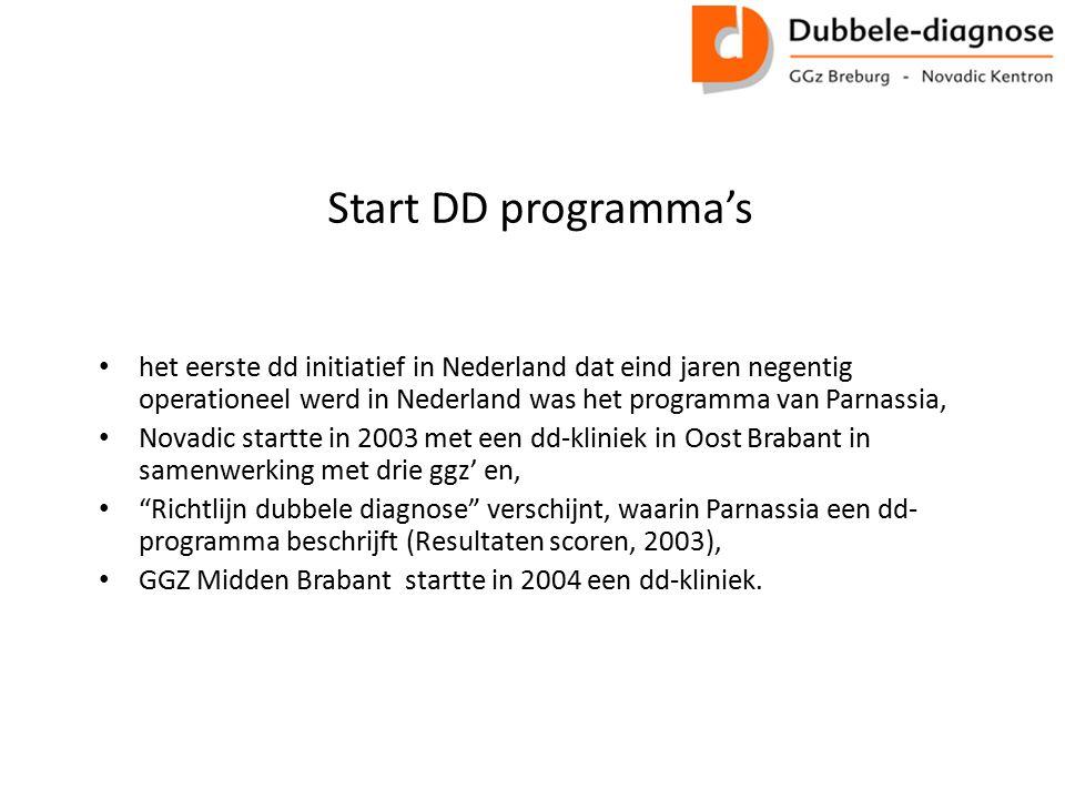 Start DD programma's het eerste dd initiatief in Nederland dat eind jaren negentig operationeel werd in Nederland was het programma van Parnassia,