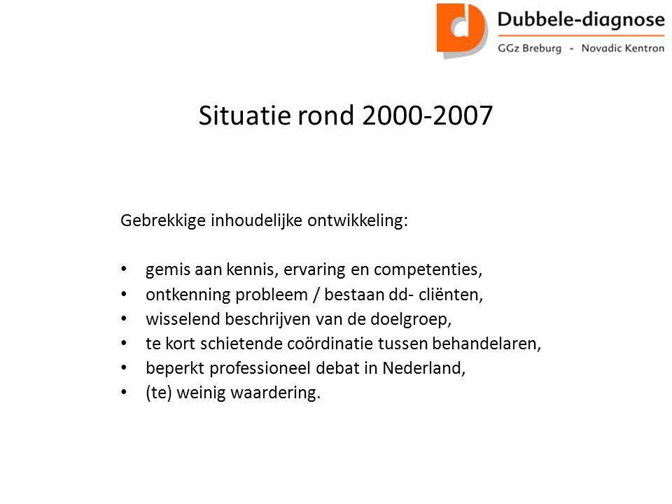 Situatie rond 2000-2007 Gebrekkige inhoudelijke ontwikkeling:
