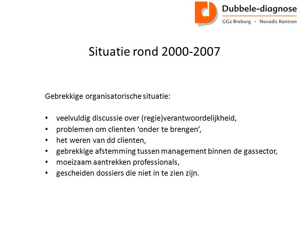 Situatie rond 2000-2007 Gebrekkige organisatorische situatie: