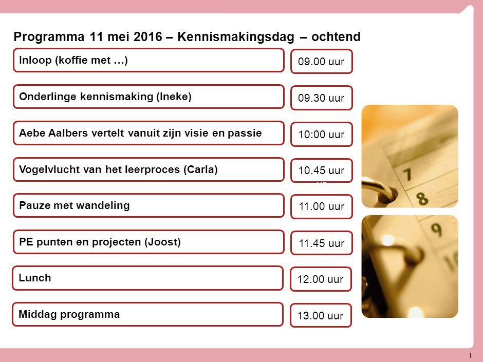 Programma 11 mei 2016 – Kennismakingsdag – middag