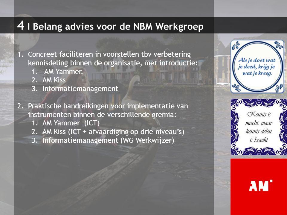 4 I Belang advies voor de NBM Werkgroep